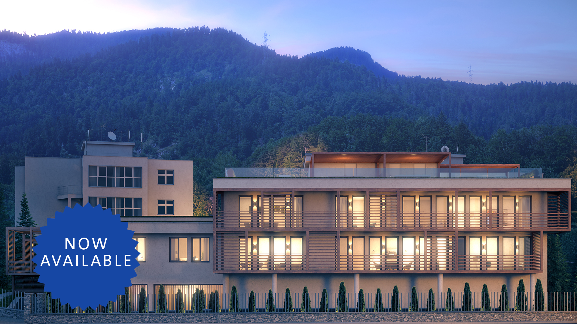Residences at the Hard Rock Hotel Davos Apartment building-b_night-view-east-facade_nowavailable