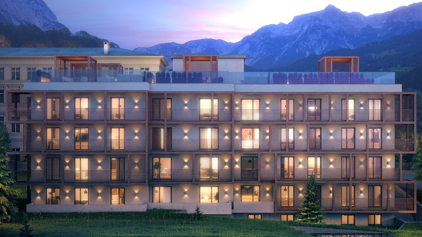 Residences at the Hard Rock Hotel Davos Apartment Building-A_night-view-south-facade
