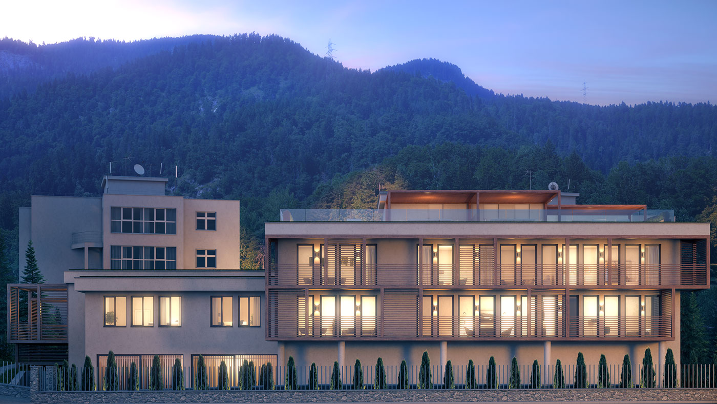 Residences at the Hard Rock Hotel Davos Apartment Building-B_night-view-east-facade